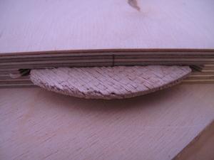 Flachdübelfräse: Eingesetzter Flachdübel